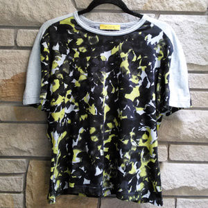 St. John Abstract Floral Print Short Sleeve Top L